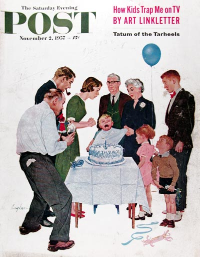 1957 Saturday Evening Post Cover ~ Happy Birthday #014796