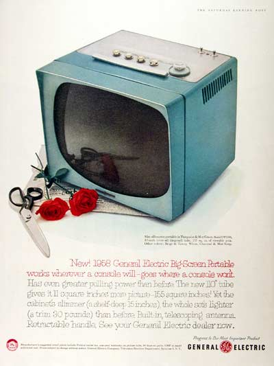 1958 GE 17 inch Television #001512