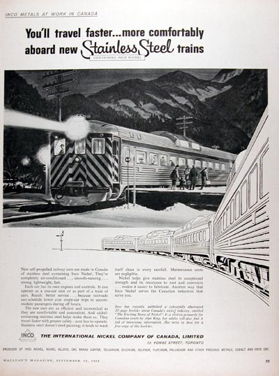 1958 Inco Nickel Stainless Steel Trains #010048