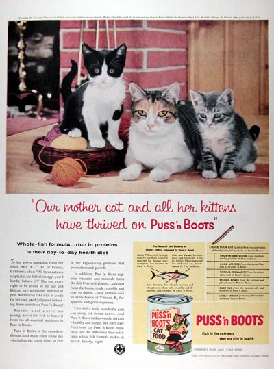 1958 Puss N Boots Cat Food #024806