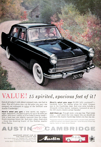 1960 Austin A-55 Cambridge Sedan Vintage Ad #025332