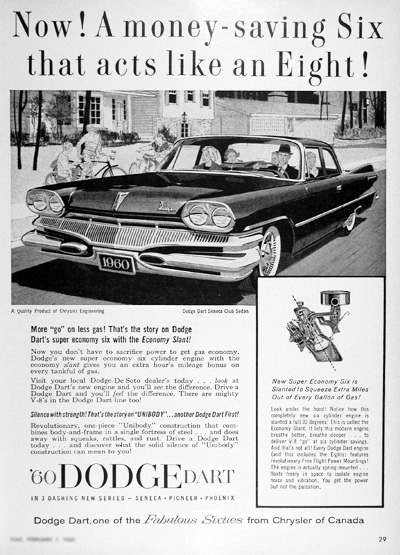 1960 Dodge Dart Seneca Club Sedan Vintage Ad #025346