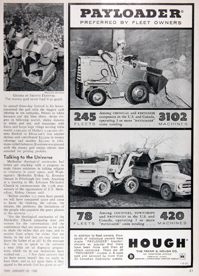 1960 Hough Payloaders Vintage Ad #025350