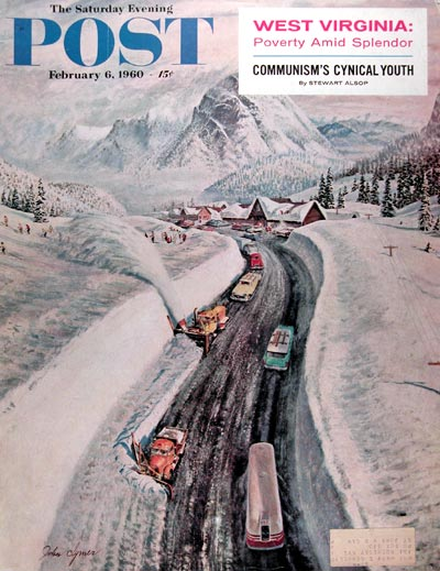 1960 Post Cover ~ Snow Clearing at Snoqualmie Pass #017686