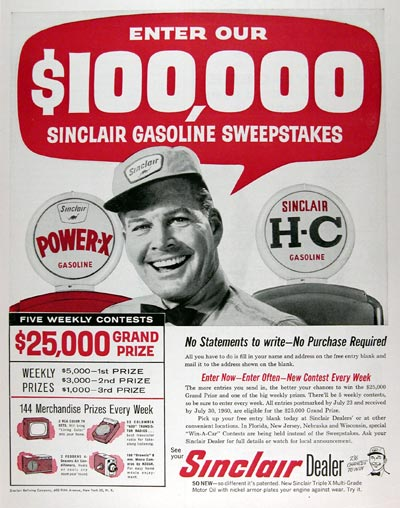 1960 Sinclair Sweepstakes #015389