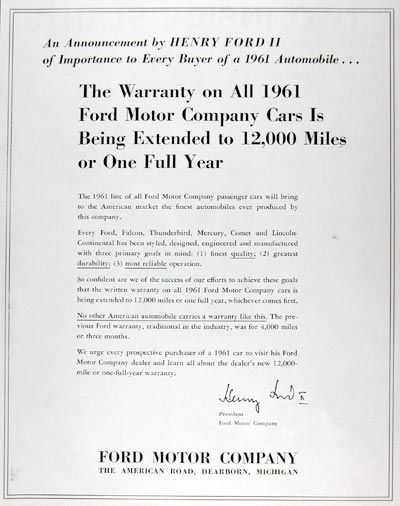 1961 Ford Motor Co. Warranty #011377