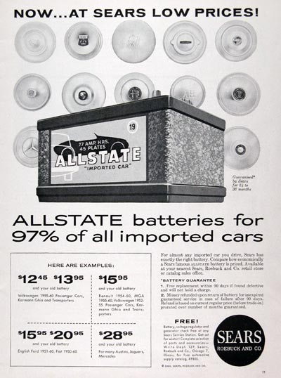 1961 Sears Allstate Battery #023774