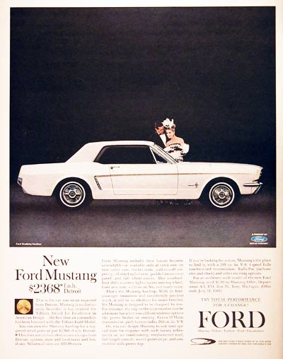 1964 Ford Mustang Vintage Print Ad #001017