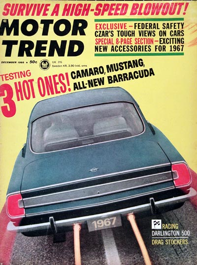 1966 Motor Trend Magazine Cover ~ 1967 Plymouth Barracuda #023533