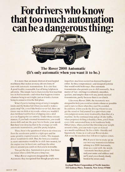 1968 Rover 2000 Automatic #006333