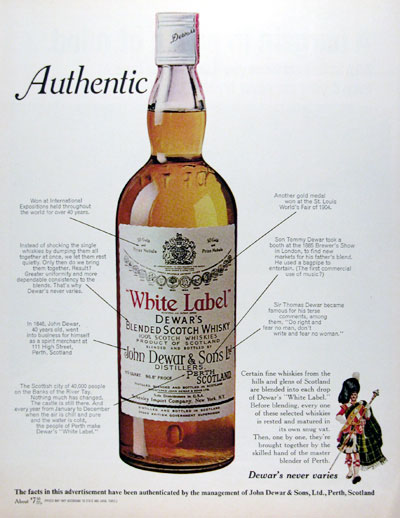 1970 Dewar's White Label Scotch Whiskey #013087