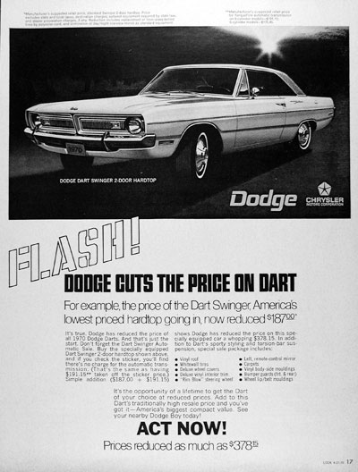1970 Dodge Dart Swinger #013069
