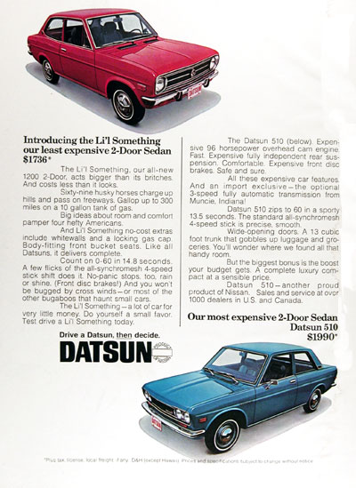 1971 Datsun 1200 & 510 2-Door Sedan Vintage Ad #004906