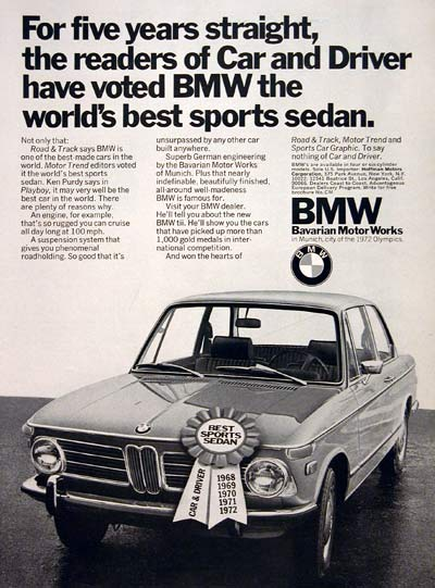 1972 BMW Coupe Vintage Ad #004948
