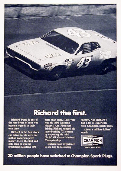 1972 Champion Spark Plugs Richard Petty #005088