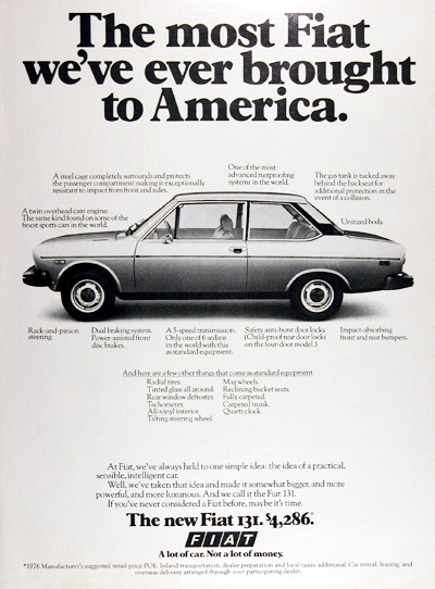 1976 Fiat 131 Coupe Vintage Ad #025365