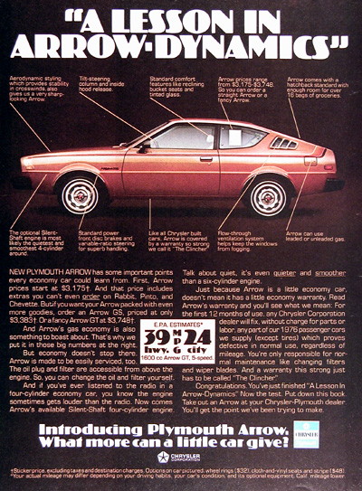 1976 Plymouth Arrow Vintage Ad #025368