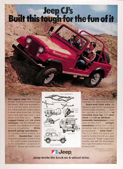 1977 Jeep CJ Renegade Vintage Ad #025373