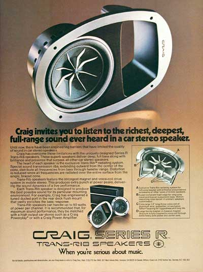 1978 Craig Car Stereo Speakers #004193