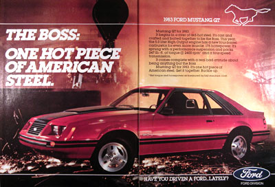 1983 Ford Mustang GT 5.0 Vintage Ad #025279