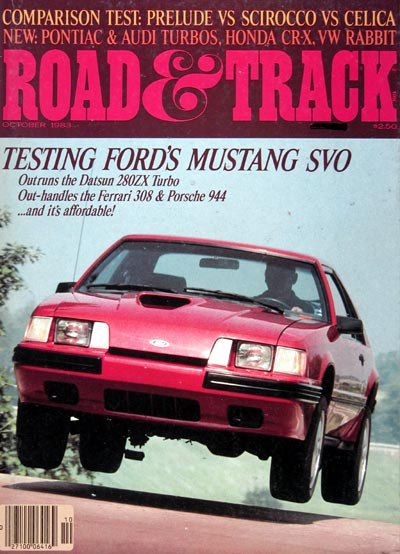 1983 Road & Track Cover ~ 1984 Ford Mustang SVO #024013