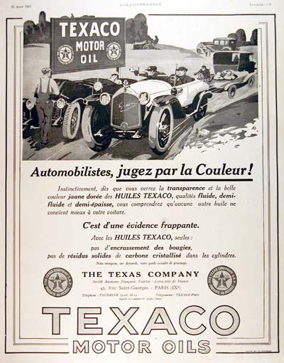 1923 Texaco Motor Oil Classic French Ad #000129