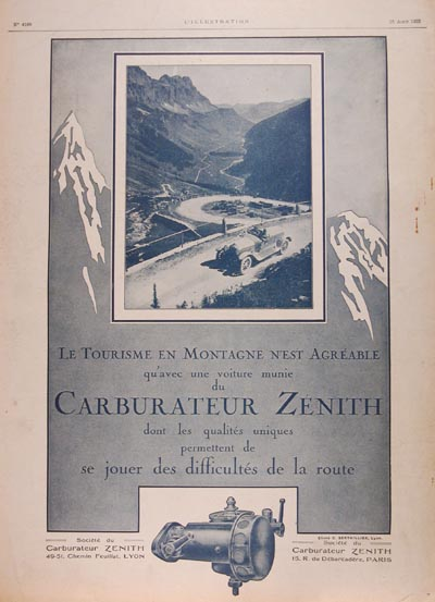 1923 Zenith Carburater Classic Ad #000130