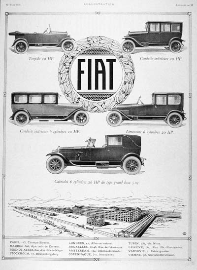 1925 Fiat Model Line Vintage French Ad #000154