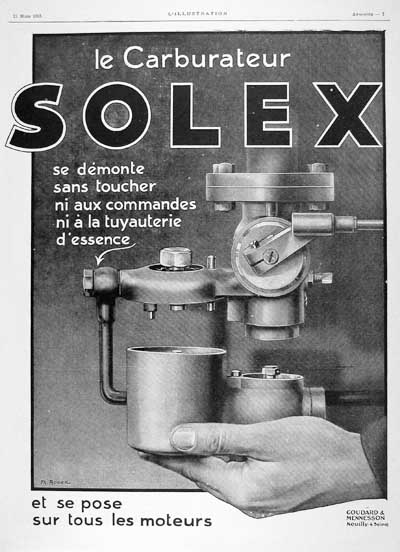 1925 Solex Carburaters Vintage French Ad #000150