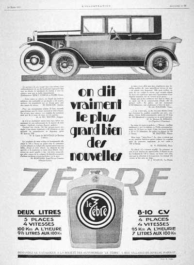 1925 Zebre 2.0 Vintage French Ad #000156