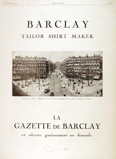 1926 Barclay Shirts Vintage French Ad #000206