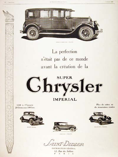 1926 Chrysler Limousine Vintage French Ad #000191