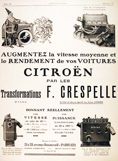 1926 Citroën Engine Tuning Vintage French Ad #000194