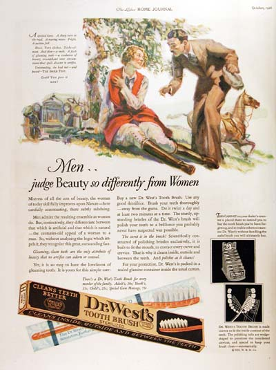 1926 Dr. West Toothbrush Vintage Ad #000178
