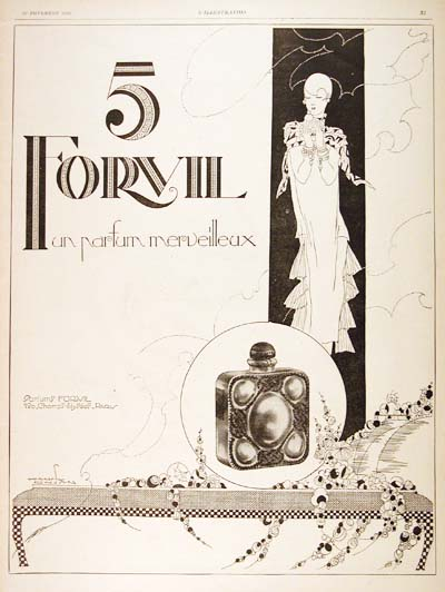 1926 Forvil No.5 Perfume Vintage French Ad #000195