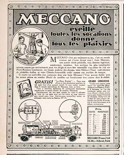 1926 Meccano Toys Vintage French Ad #000185