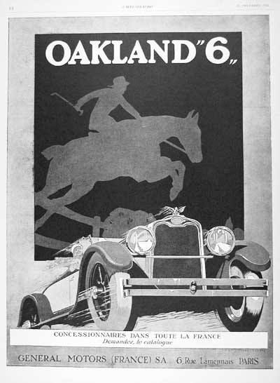 1926 Oakland Six Vintage French Ad #000204