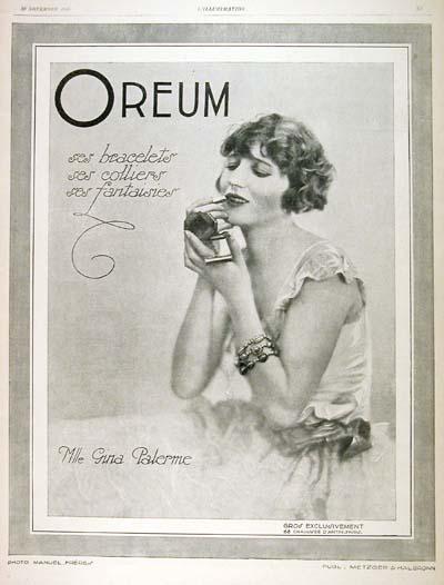 1926 Oreum Jewellry Gina Palerme Vintage French Ad #000196
