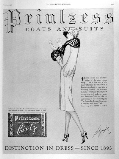 1926 Printzess Womens Coats Suits Vintage Ad #000176