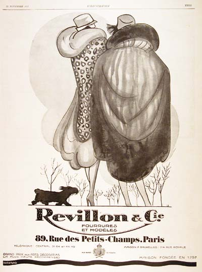 1926 Revillon Fur Co. Vintage French Ad #0002000