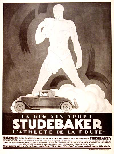 1926 Studebaker Six Sport French Art Deco Ad