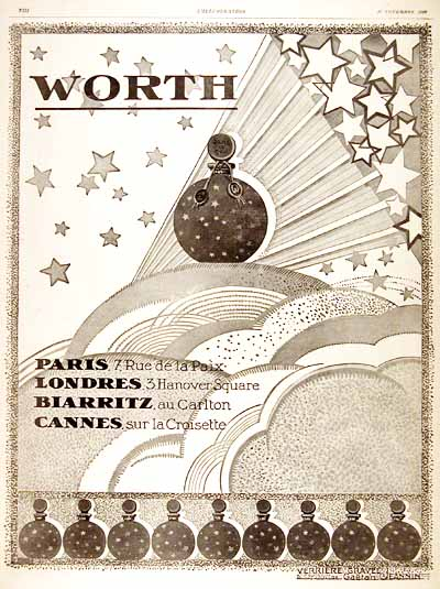 1926 Worth Perfume Vintage French Art Deco Ad