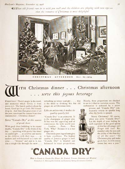 1928 Canada Dry Christmas Vintage Ad #000250