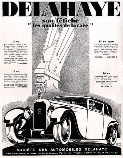 1928 Delahaye Sedan Art Deco Vintage French Ad #000220
