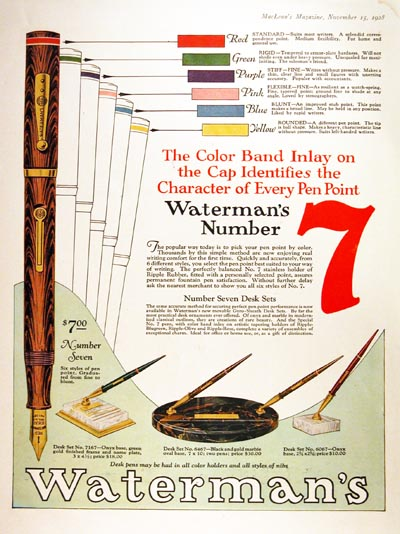 1928 Waterman No. 7 Vintage Ad #000248