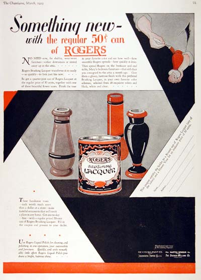 1929 Rogers Lacquer Vintage Deco Ad #000252