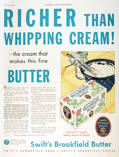 1931 Brookfield Butter Vintage Ad #000318