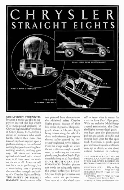 1931 Chrysler Straight Eight Vintage Ad