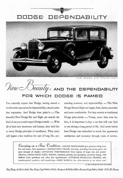 1931 Dodge Six Sedan Vintage Ad #000301