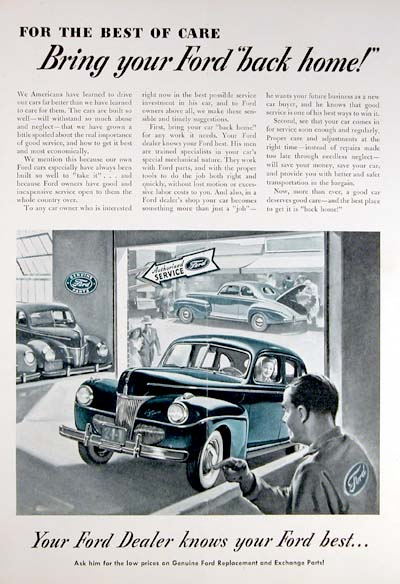 1941 Ford Dealers Vintage Ad
